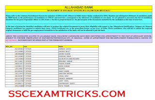 ALLAHABAD PO SO 2015 FINAL ALLOTMENT LIST