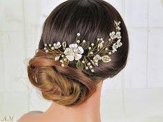 K'Mich Weddings - wedding planning - bridal headpiece - gold bridal hair vine - esty