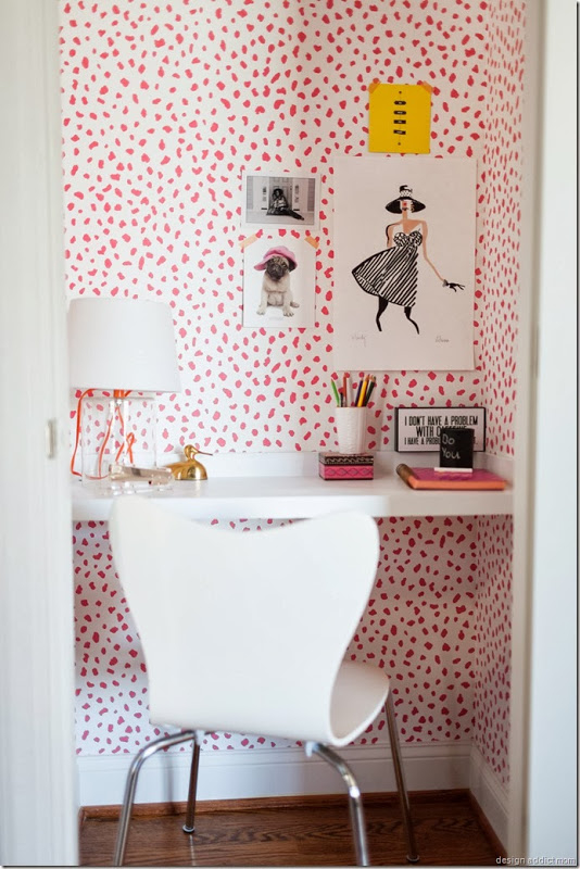 Pink wallpaper in a closet turned office-design addict mom