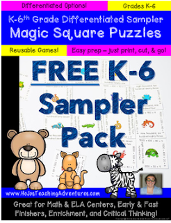You're going to LOVE this FREE K-6th grade differentiated Magic Square Puzzles Sampler Pack! It has great resources to use for math and ELA centers, review, enrichment, early or fast finishers, and more!  These engaging puzzles make it quick and easy for teachers to provide hands on activities that meet the needs of all students! Great FREE download for your Kindergarten, 1st, 2nd, 3rd, 4th, 5th, or 6th grade classroom or homeschool students. FREEBIE