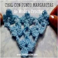 Chal crochet triangular punto margaritas
