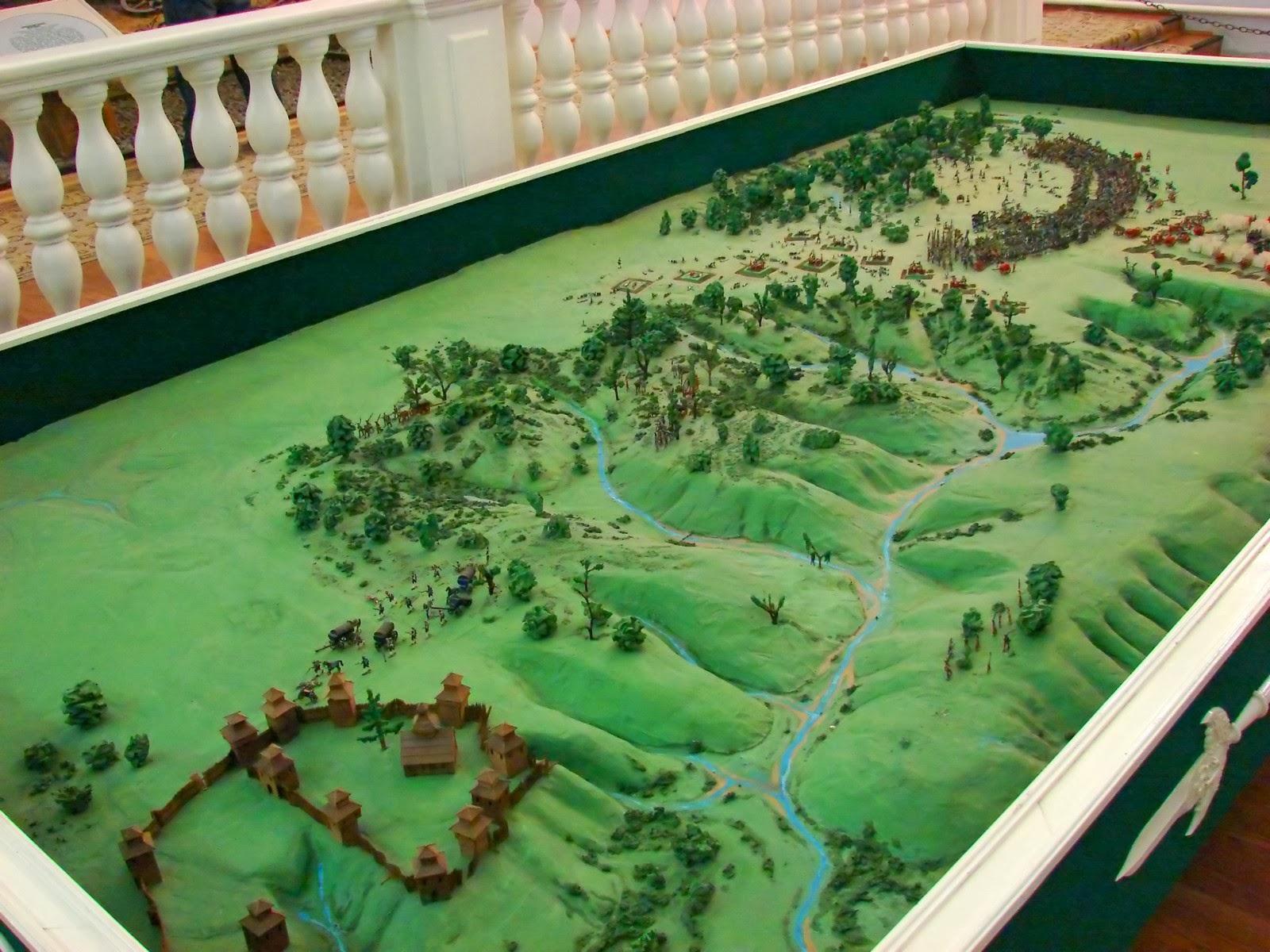 Макет, изображающий поле Полтавской битвы