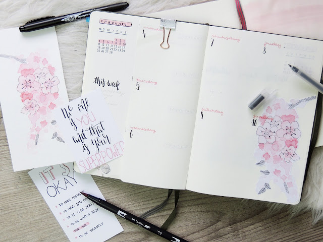 bullet journal weekly overview with dutch door and watercolour paintings of flowers by glitterisblack