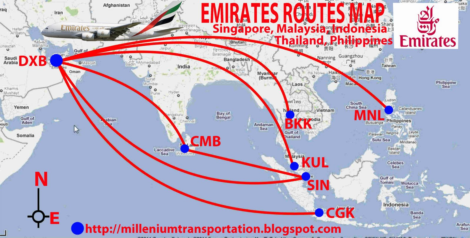 routes map: Emirates routes map