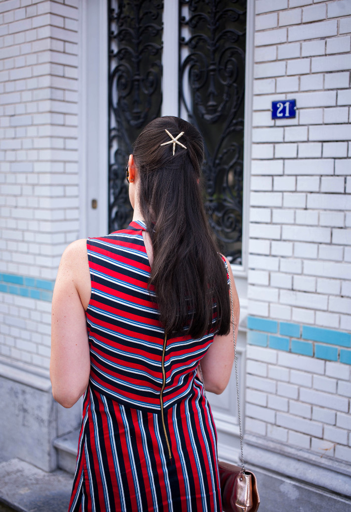 starfish hairpin, sixties striped dress