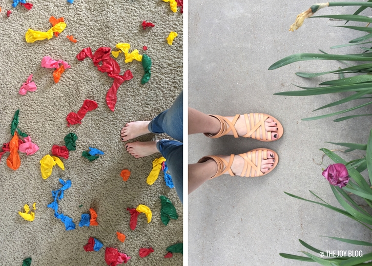 Popped balloons and new sandals // www.thejoyblog.net