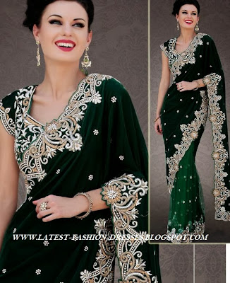 2014 TREND ON GREEN VELVET HALF AND HALF SAREE