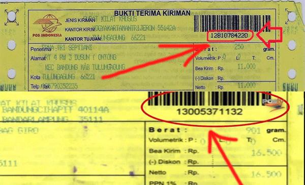 contoh nomor resi pos yang dapat dilihat dari slip bukti