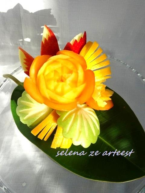 Persimmon Rose Carving garnish