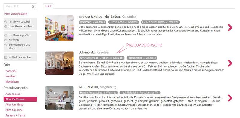 Screenshot Kreativbühne Produktwunsch
