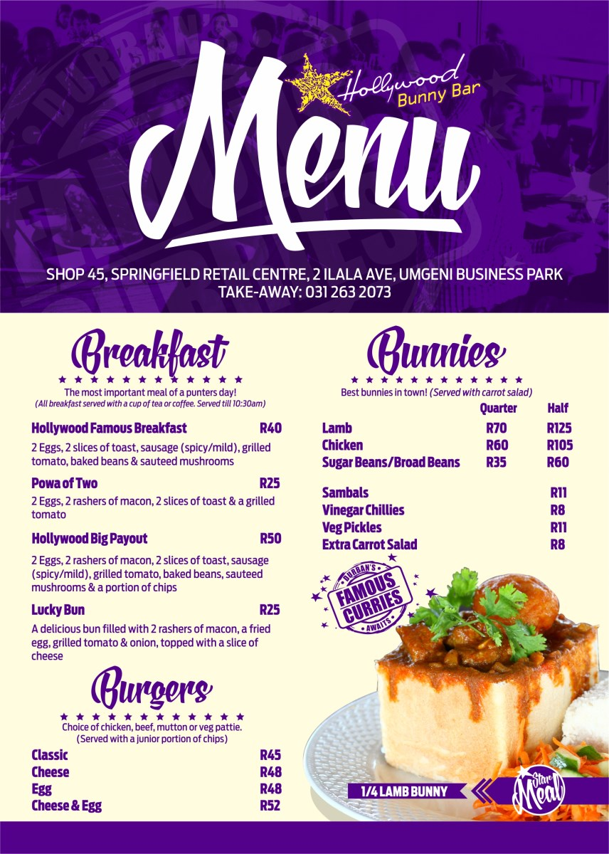 Hollywood Bunny Bar Menu - Pg 1 - Breakfast, Bunny Chows, Burgers - Hollywoodbets