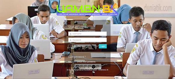 Tampilan login Server UAMBNBK 2019