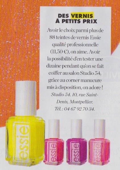 """Notre corner manucure et nos vernis Essie Pro mis en avant dans le numéro du 18 avril 2014 du magazine """"Elle"""", édition Languedoc-Roussillon."""
