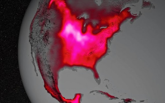 Natural fluorescence by chlorophyll as seen by satellite