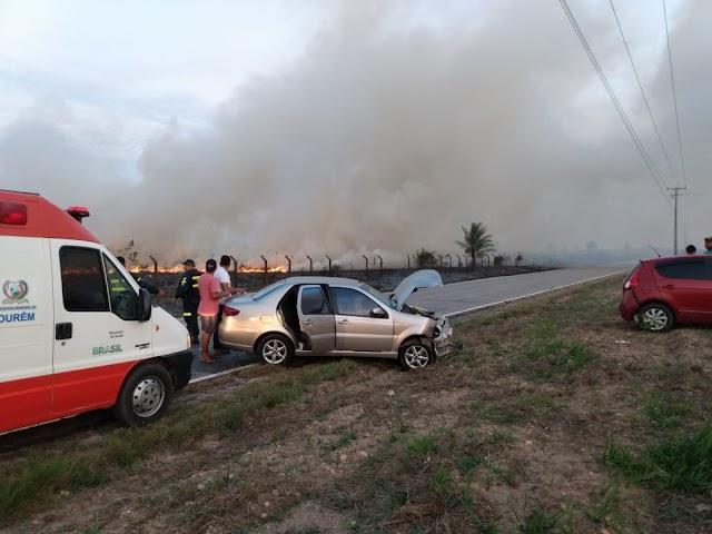 Queimada as margens da PA 124 provoca acidente no final da tarde desta segunda (18), em Ourém
