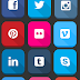 Big Flat UI Social icon Shadow using font awesome