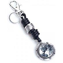 Chunky , plata , cristal , Círculo , Diamante , piel, llavero