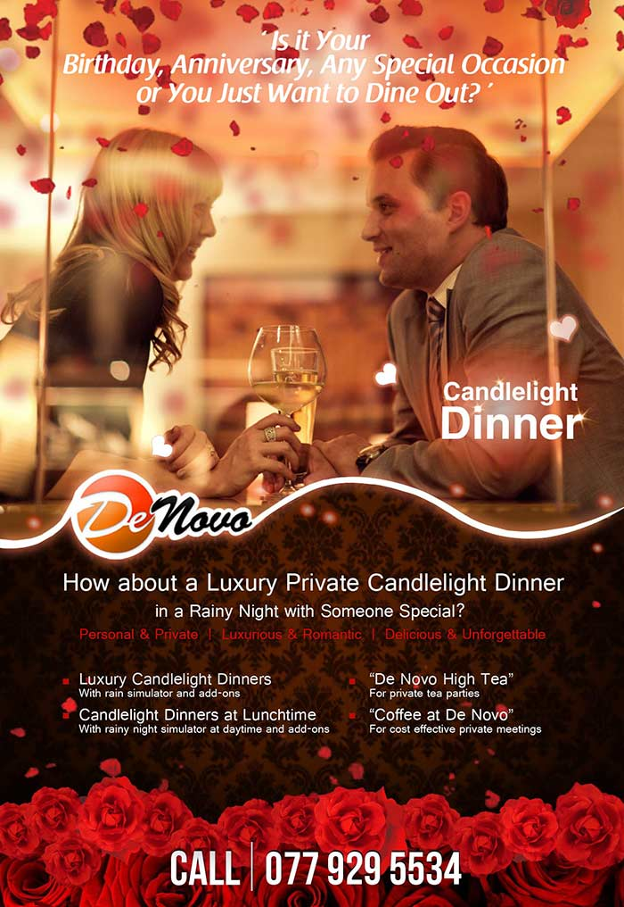 A Romantic Candlelight Dinner at De Novo, Sri Lanka! It's Ideal for Romantic Treats, Birthdays, Anniversaries or just as a Candlelight Dinner with,...