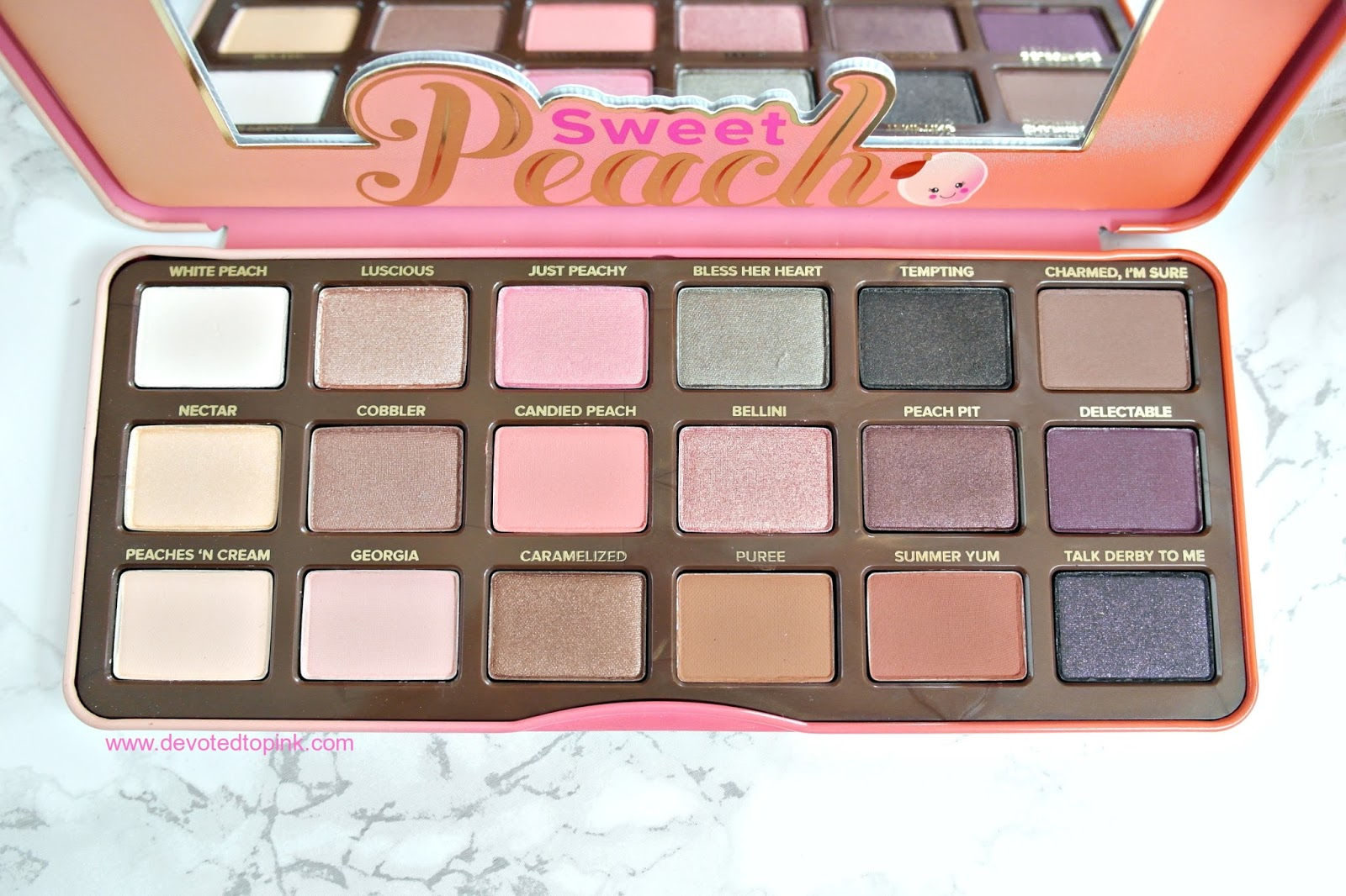 Too Faced, Sweet Peach Palette, Review, Swatches, colours