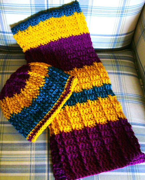Double Crochet Front Post Crochet Scarf - Free Pattern