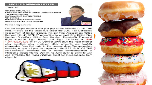 People's demand letter is issued for Dunkin Donuts tax evasion