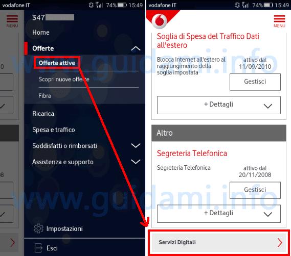 App My Vodafone Offerte attive Servizi Digitali