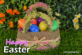 Happy Easter greetings - Easter Eggs basket with flowers background