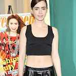 LILY COLLINS BARES SOME VERY FINE TUMMY AT BARNES & NOBLE