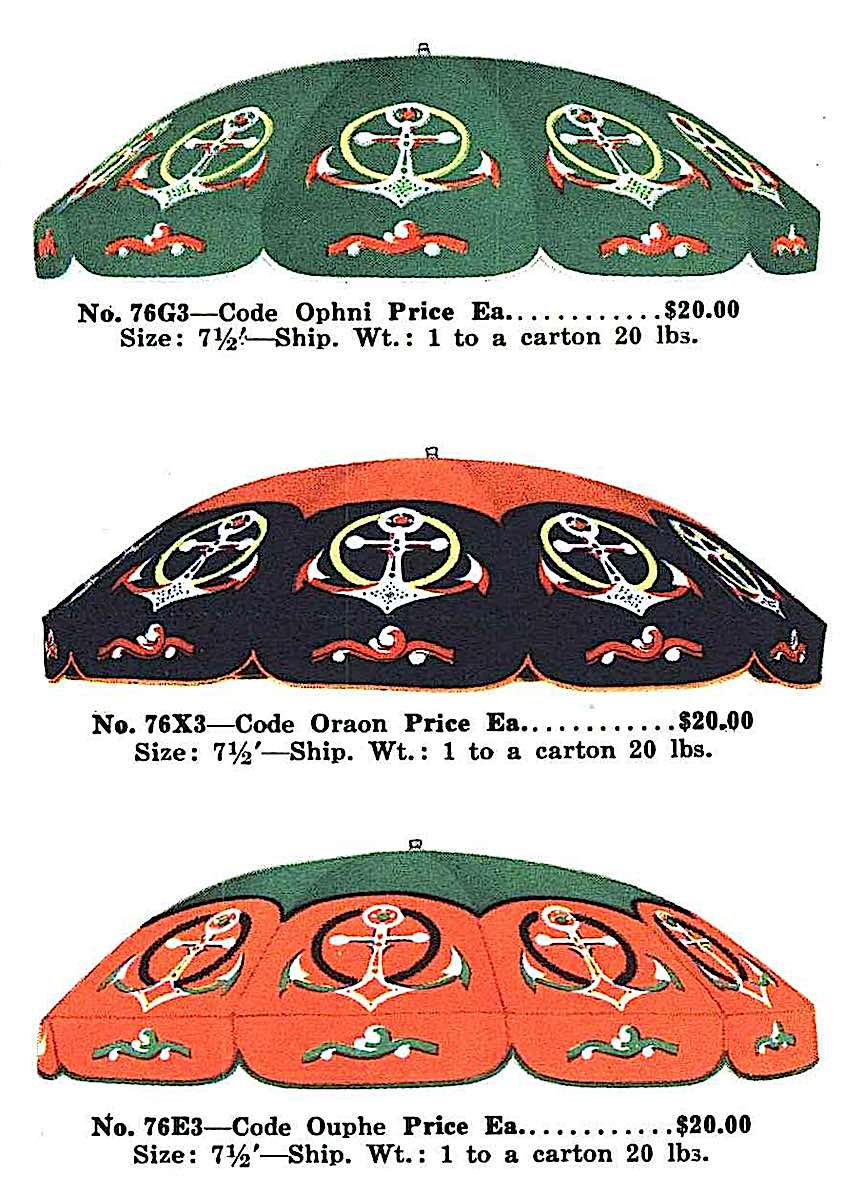 1933 nautical umbrellas with anchor pattern, a color illustration