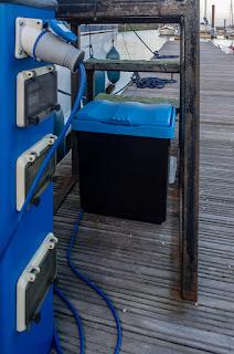 Photo of our new salt bin under Ravensdale's boarding steps