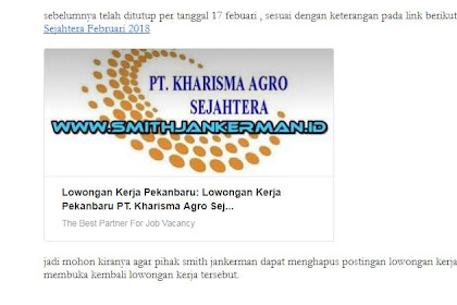 Klarifikasi Lowongan PT. Kharisma Agro Sejahtera Pekanbaru Februari 2018