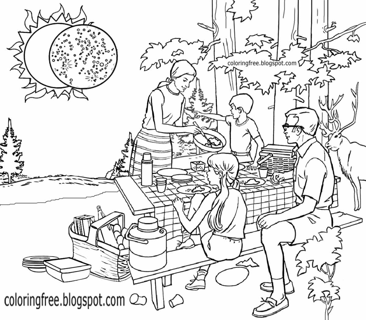 Colouring sheets of the lunar eclipse - Planet Earth And Moon Space Solar System Printable Activities Solar Eclipse Coloring Book Kids Pages