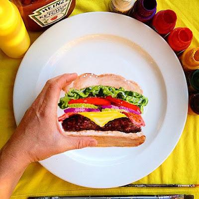 Pintura de una hamburguesa en un plato