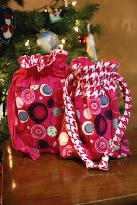 cloth sewn gift bags pink