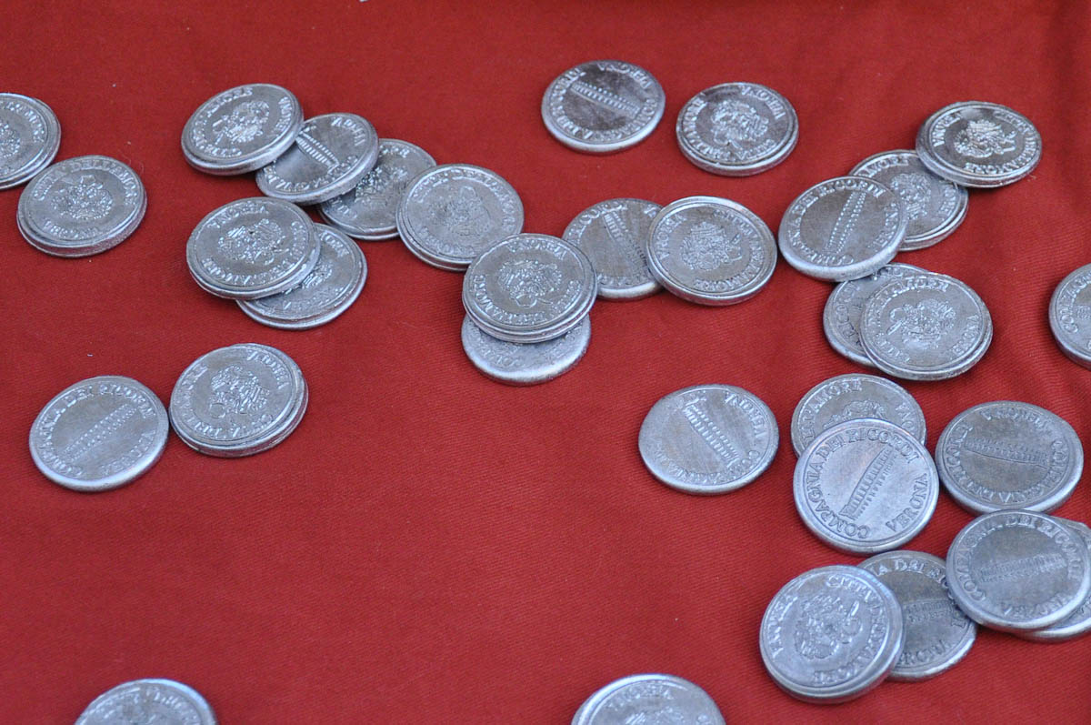Newly minted coins, Old crafts festival, Corso Fogazzaro, Vicenza, Veneto, Italy