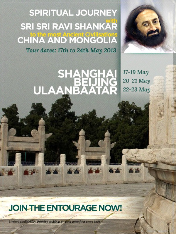 Spiritual Tour with Sri Sri to China and Mongolia