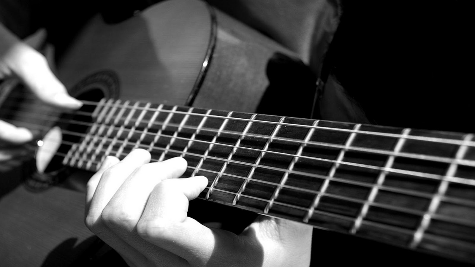 Classical Guitar Playing Acoustic Hands Fretboard Fingers Fingerpicking Black And White Music Desktop HD Wallpaper 1920x1080