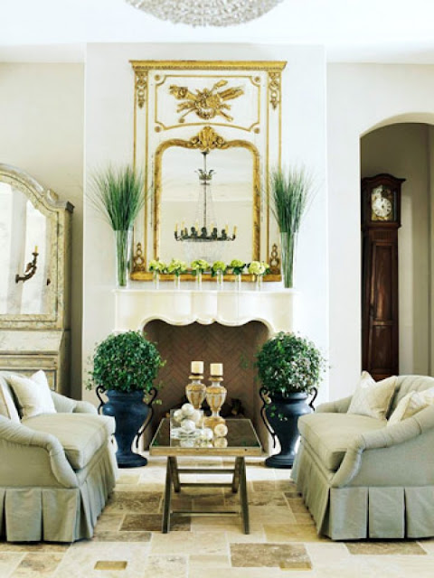 green couches neutral french inspired living room