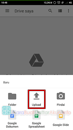 cara upload file di google drive android