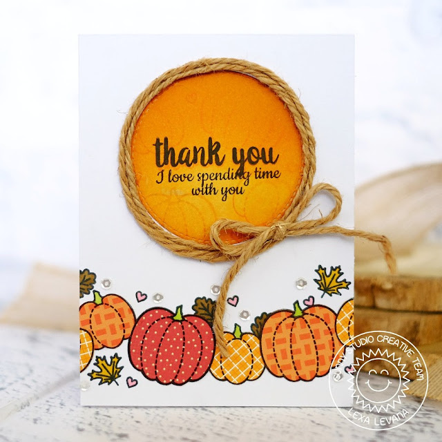 Sunny Studio Stamps: Harvest Happiness Pumpkin Thank You Card by Lexa Levana