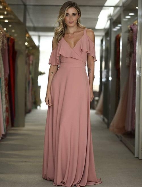 vestido longo rosa seco para madrinha