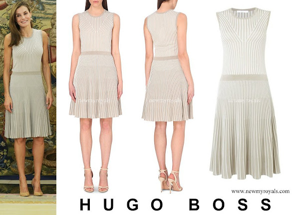 Queen Letizia wore Hugo Boss Fanuela Rib Design Sleeveless Knit Dress