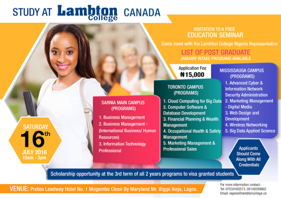 Study At Lambton College Canada Scholarship Available