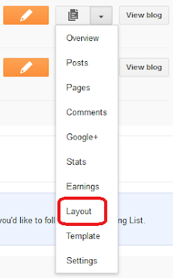 Blogger Layout Select highlighted