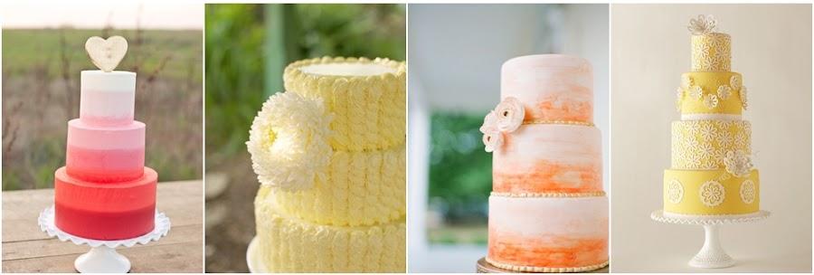 Tartas de fondant de colores cálidos para bodas