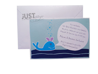 whale summer baptism invitations