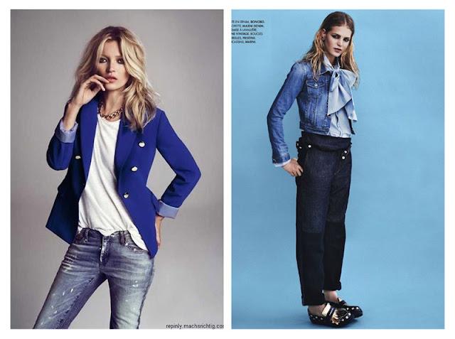Джинсы с футболкой и жакетом, джинсы и джинсовка с блузкой с бантом