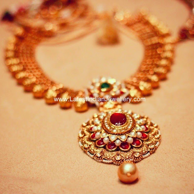 Royal Kundan Antique Gold Necklace