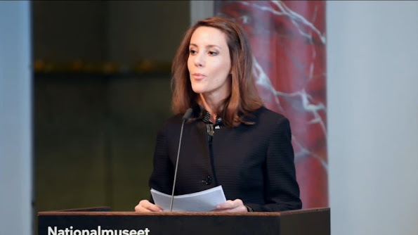 Princess Marie as patron of the Danish National Commission for UNESCO opened the UN Conference at the National Museum in Copenhagen. style fashion diamond earrings princess tiara