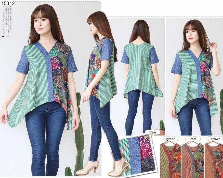 Jual Baju Batik Chiro Asymetris Batik Blouse - 15012